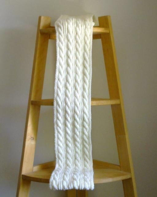 Image of Ivory Cable Knit Scarf