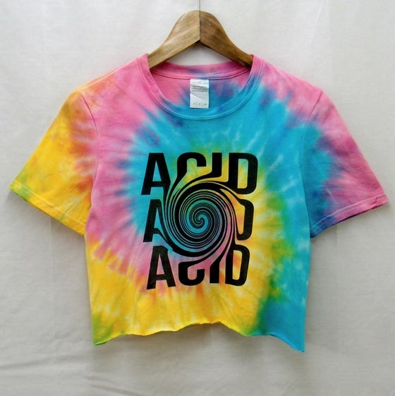 Image of Acid illusion spiral tie dye crop top