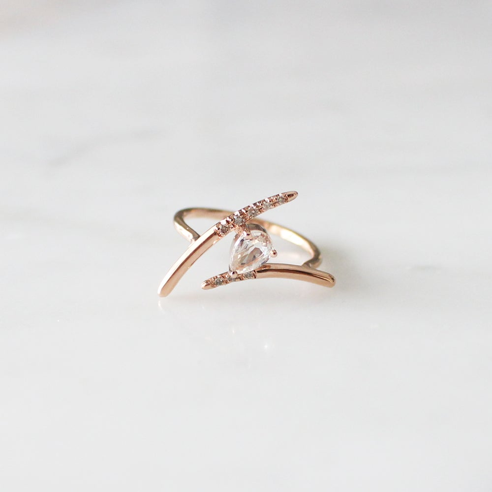 Image of Dewy Orchid Teardrop Pink Sapphire Ring