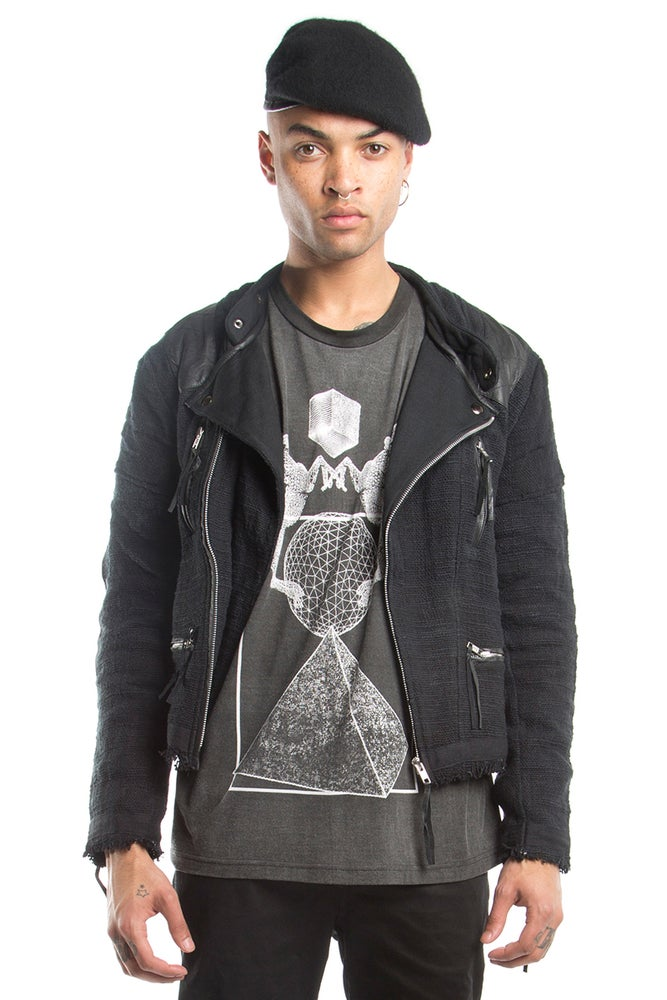 Image of Biker Jacket With Raw Edge And Leather Details