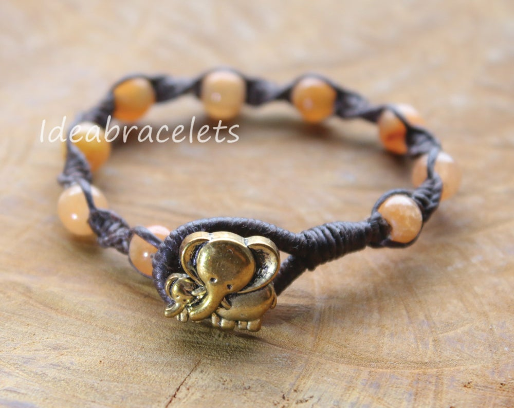 Image of Honey Jade Macrame Elephant Bracelet Gift Idea