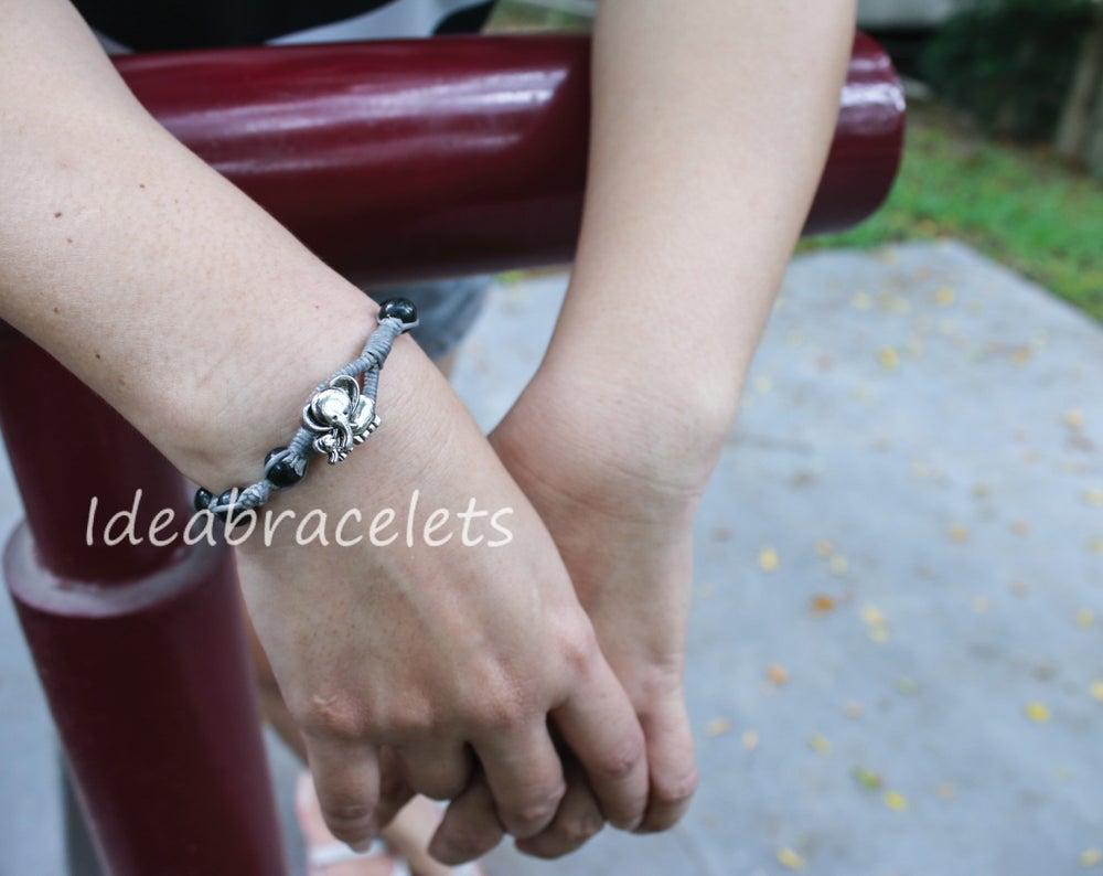Image of Green Jade Macrame Elephant Bracelet Gift Idea