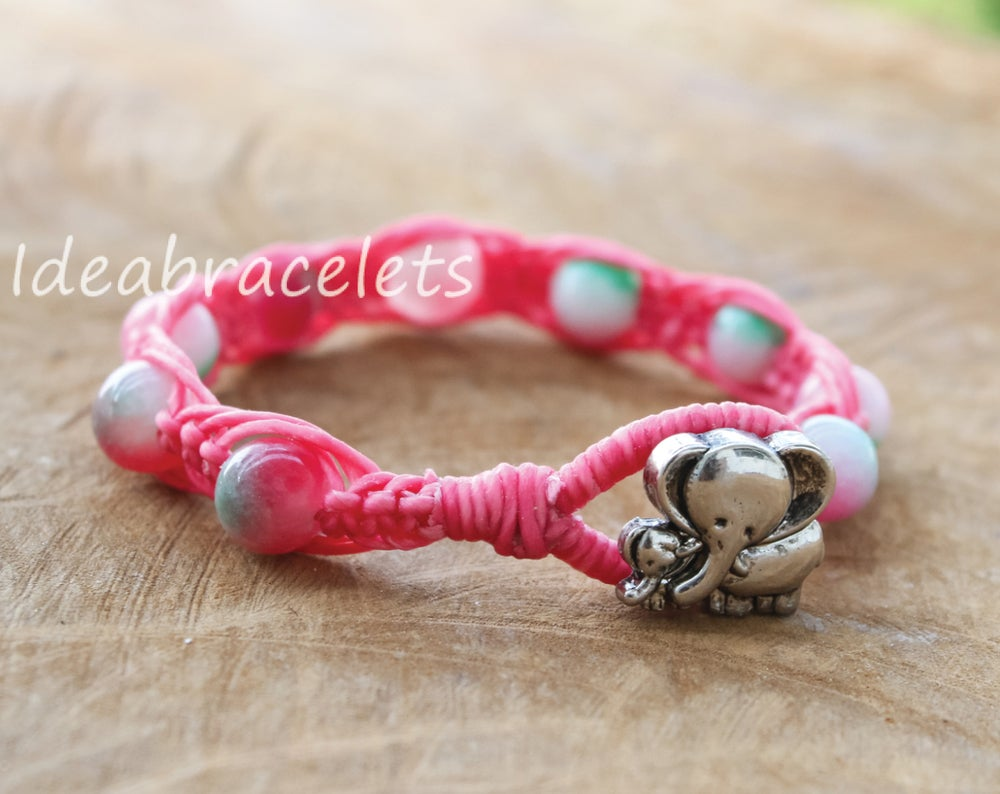 Image of Multicolors Jade Gemstone Silver Mommy Elephant Bracelet