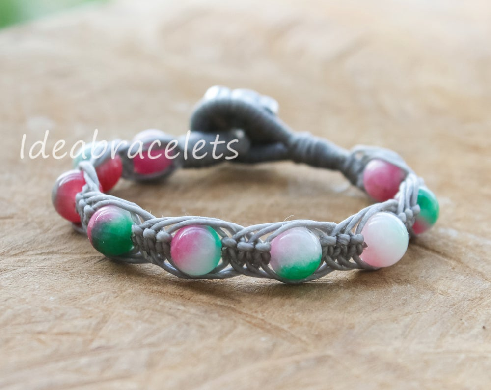 Image of Multicolor Jade Gemstone Silver Mommy Elephant Bracelet - Gray