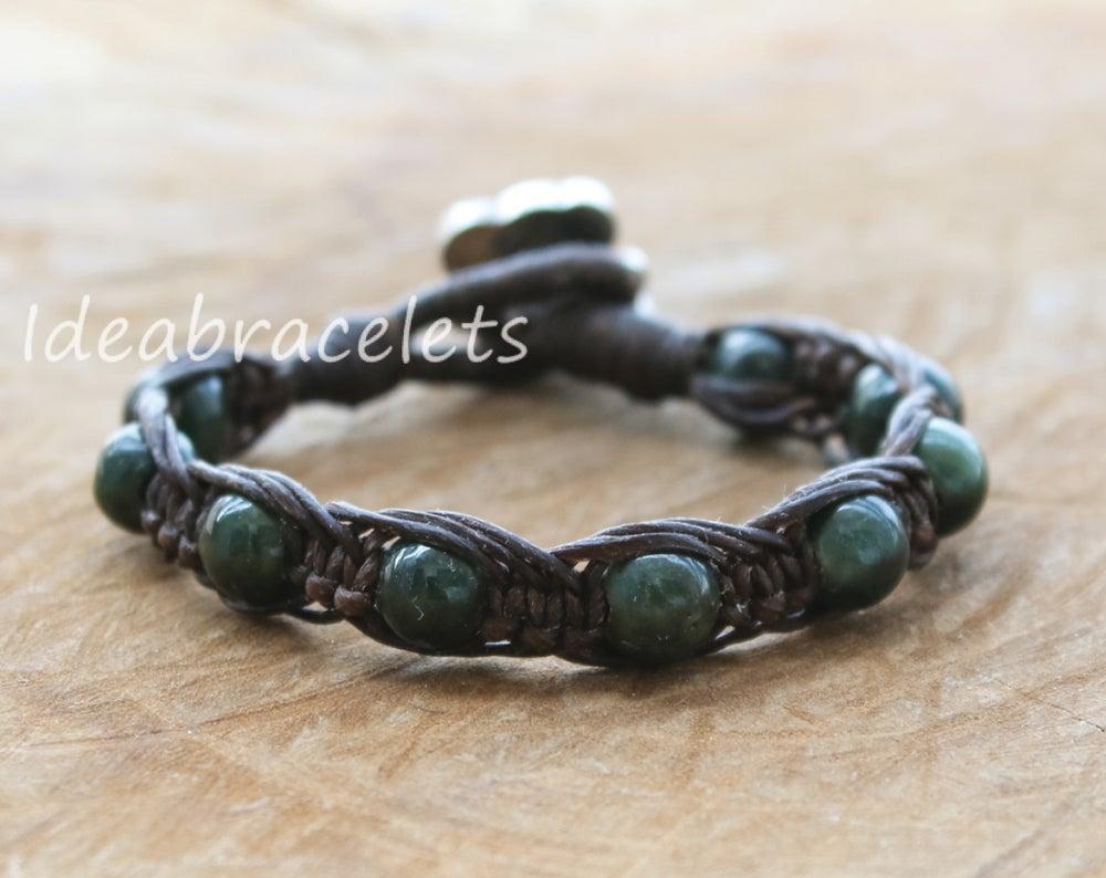 Image of Green Jade Gemstone Silver Mommy Elephant Bracelet - Dark Brown