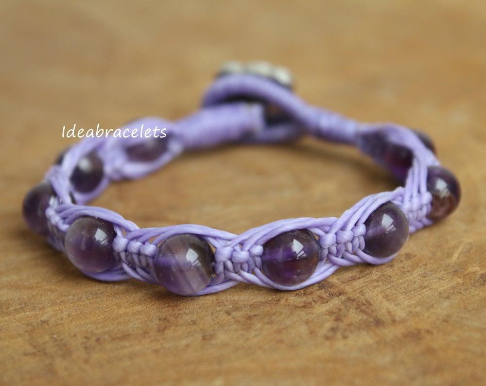 Image of Amethyst Gemstone Silver Mommy Elephant Bracelet - Purple