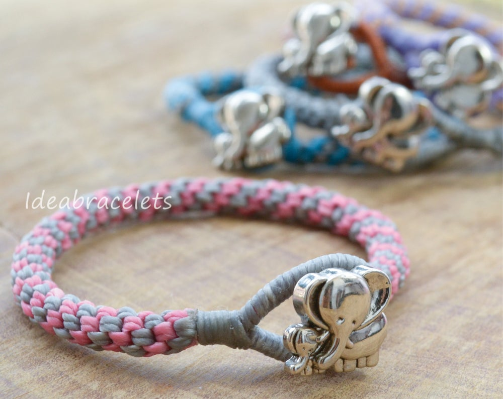 Image of Two Colors Braided Macrame Friendship Bracelet - Pink & Gray