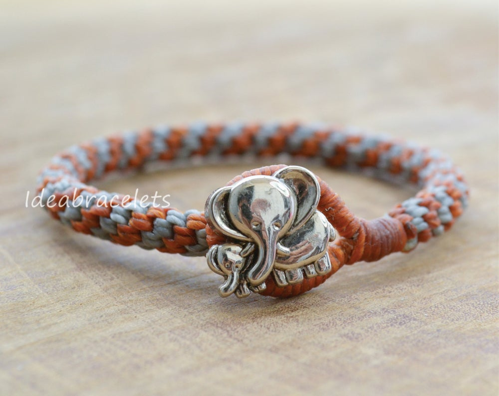 Image of Two Colors Braided Macrame Friendship Bracelet - Brown & Gray