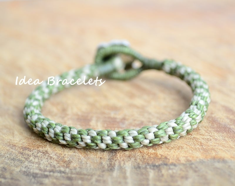 Image of Two Colors Braided Macrame Friendship Bracelet - Green & Nude