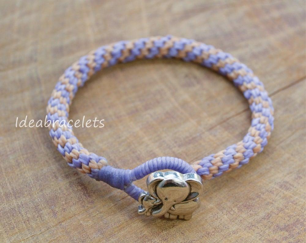 Image of Two Colors Braided Macrame Friendship Bracelet - Purple & Beige