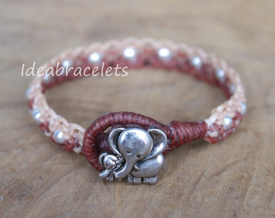 Image of Twotone Colors Handmade Macrame Bracelet Elephant Jewelry - Brown