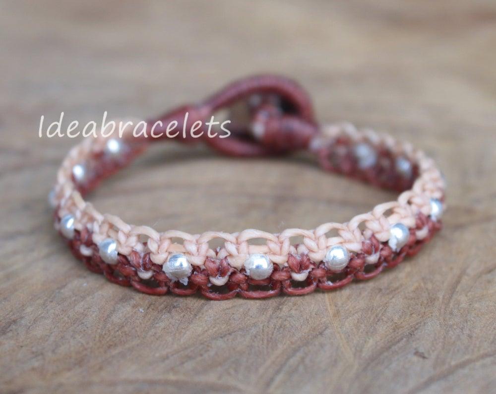 Image of Twotone Colors Handmade Macrame Bracelet Elephant Jewelry - Brown