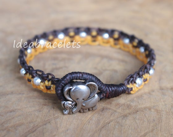 Image of Twotone Colors Handmade Macrame Bracelet Elephant Jewelry - Yellow & Dark Brown