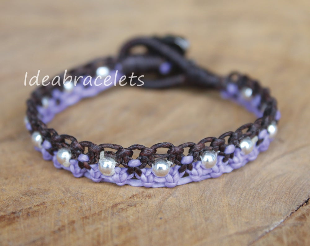 Image of Twotone Colors Handmade Macrame Bracelet Elephant Jewelry - Purple & Dark Brown