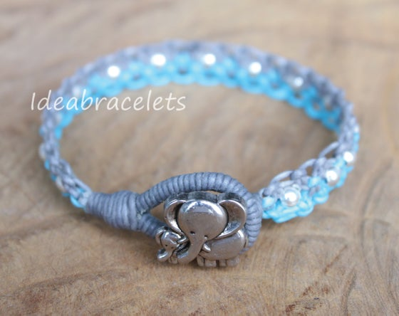 Image of Twotone Colors Handmade Macrame Bracelet Elephant Jewelry - Blue & Gray