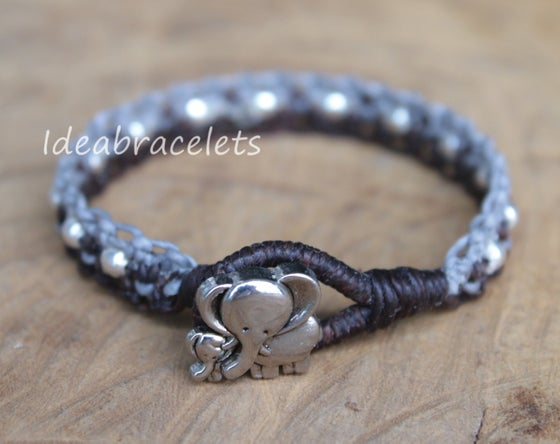 Image of Twotone Colors Handmade Macrame Bracelet Elephant Jewelry - Gray & Dark Brown