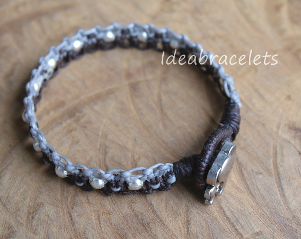 Image of Twotone Colors Handmade Macrame Bracelet Elephant Jewelry - Gray & Dark Brown
