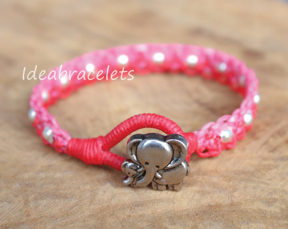 Image of Twotone Colors Handmade Macrame Bracelet Elephant Jewelry - Pink & Red
