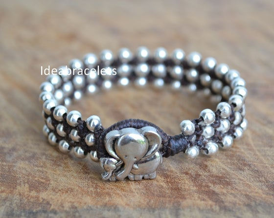 Image of Rock Style Silver Beaded Friendship Macrame Elephant Bracelet - Dark Brown