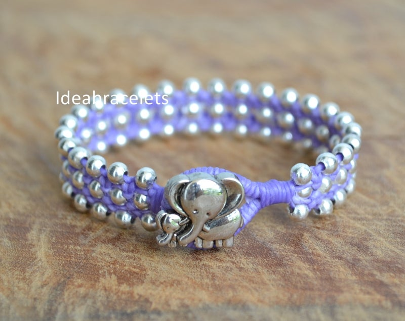 Image of Rock Style Silver Beaded Friendship Macrame Elephant Bracelet - Purple