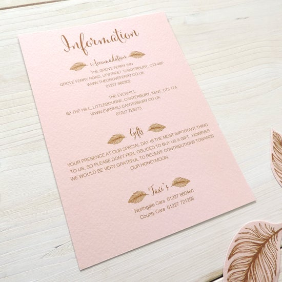 Image of Tickled Pink Bespoke Wedding Information Card