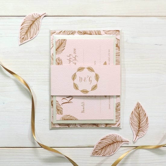 Image of Tickled Pink Wedding Invitation and RSVP with Personalised Belly Band