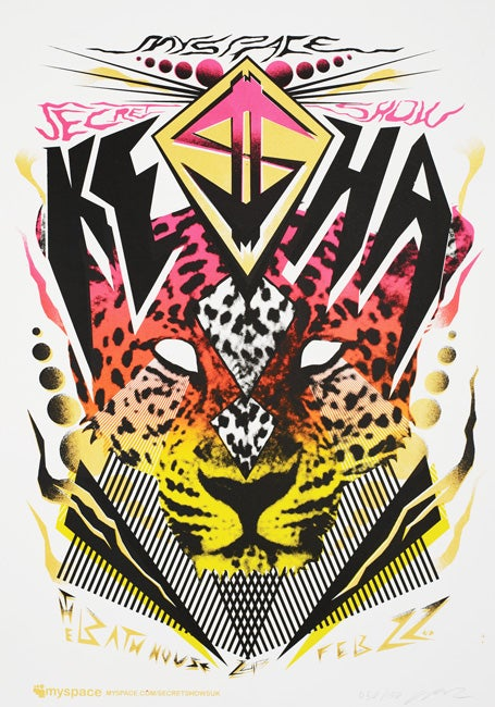 Image of Ke$ha Myspace Secret Show Silkscreen Poster
