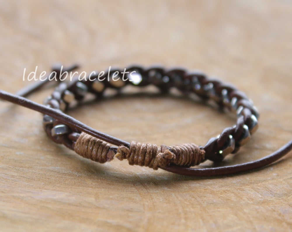 Image of Real Leather Silver Hexagon Adjustable Bracelet - Brown