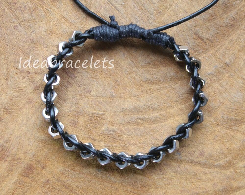 Image of Real Leather Silver Hexagon Adjustable Bracelet - Black