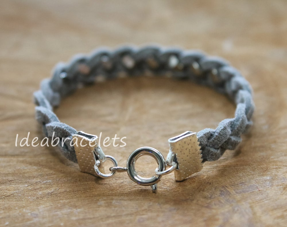 Image of Faux Leather Silver Hexagon Single Layer Bracelet - Light Gray