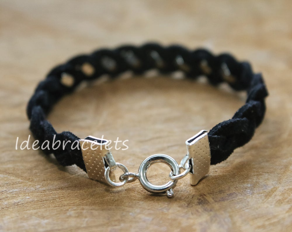 Image of Faux Leather Silver Hexagon Single Layer Bracelet - Black