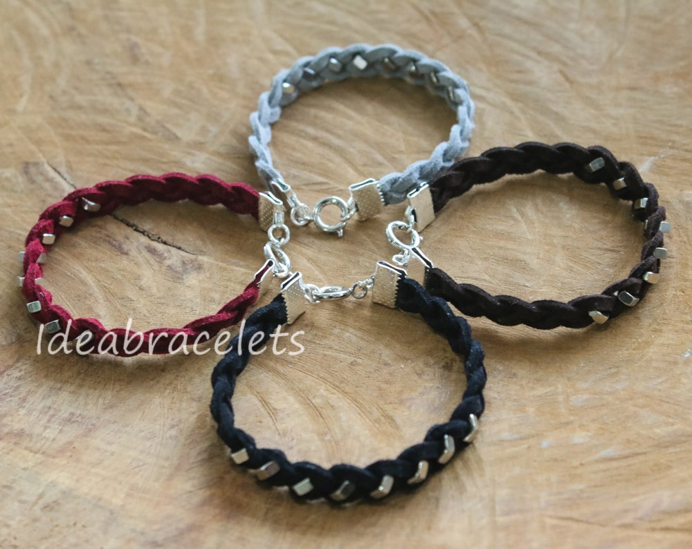 Image of Faux Leather Silver Hexagon Single Layer Bracelet - Red