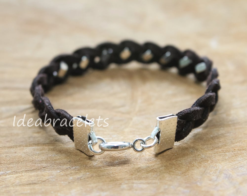 Image of Faux Leather Silver Hexagon Single Layer Bracelet - Dark Brown