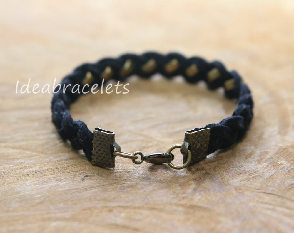 Image of Faux Leather Brass Hexagon Single Layer Bracelet - Black