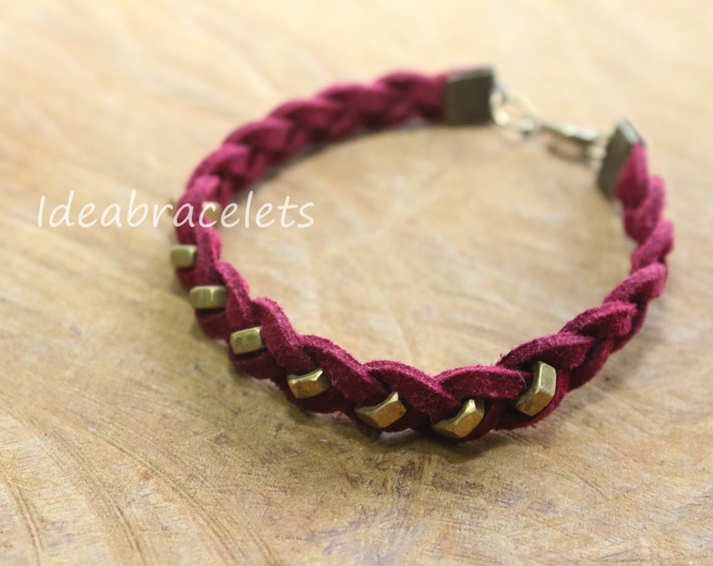 Image of Faux Leather Brass Hexagon Single Layer Bracelet - Red
