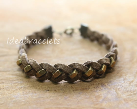 Image of Faux Leather Brass Hexagon Single Layer Bracelet - Brown (Khaki)