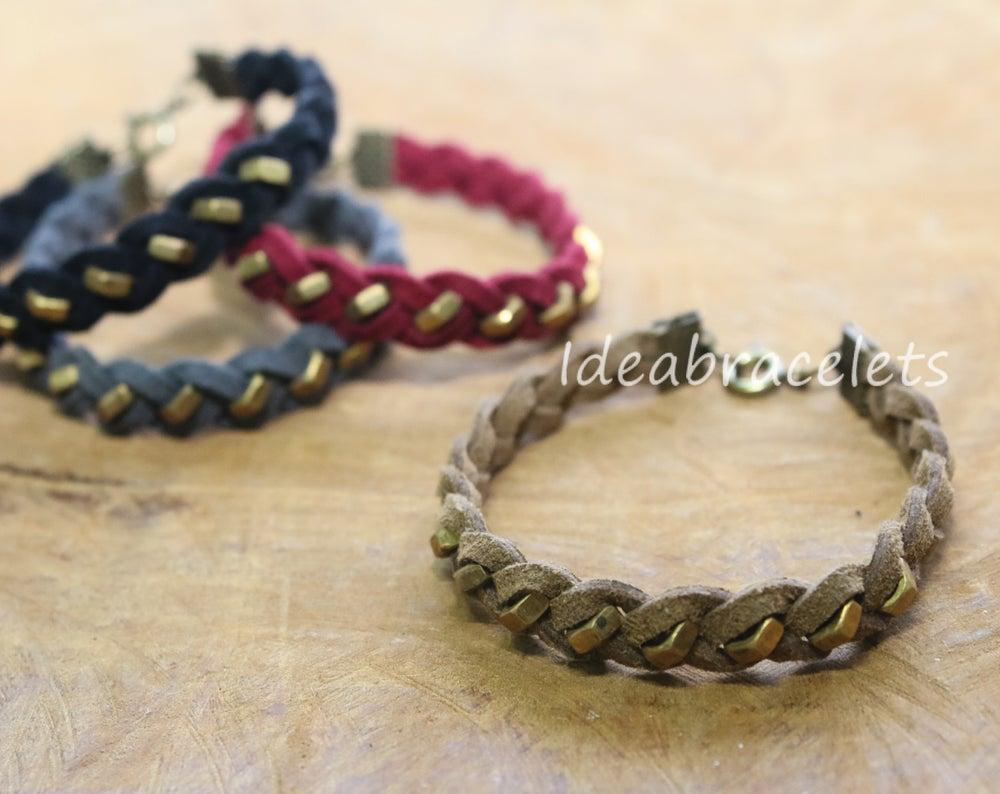 Image of Faux Leather Brass Hexagon Single Layer Bracelet - Brown (Khaki)