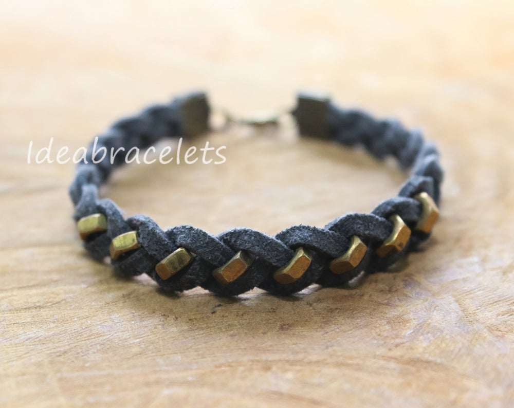 Image of Faux Leather Brass Hexagon Single Layer Bracelet - Dark gray