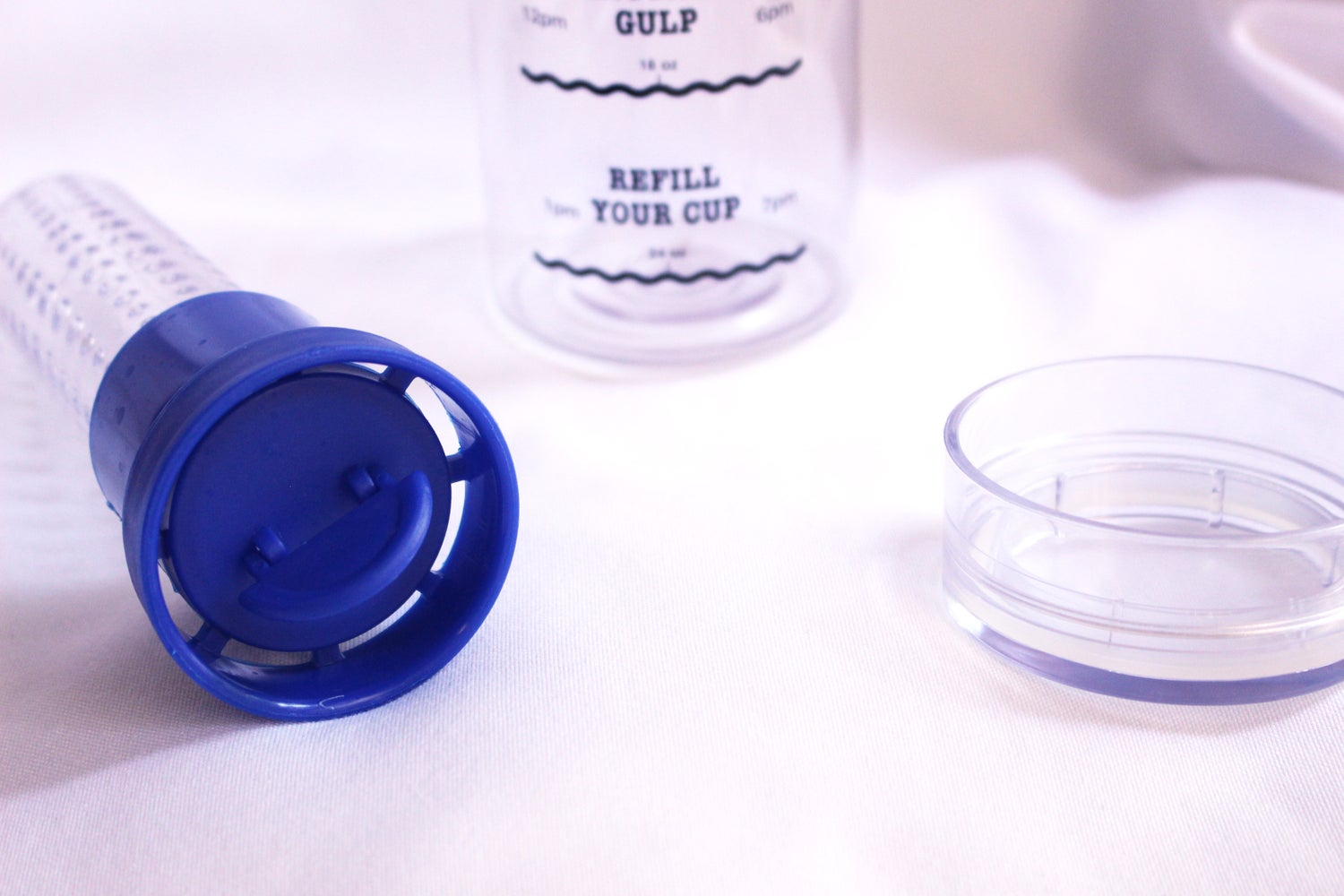 Image of Infusion Water Bottle with Drink Tracker - Blue