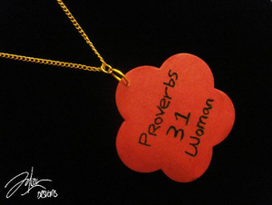 Image of Proverbs 31 wood engraved necklace