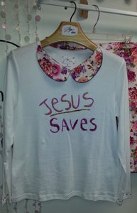 Image of Jesus Saves Tee with Floral Peter Pan Collar