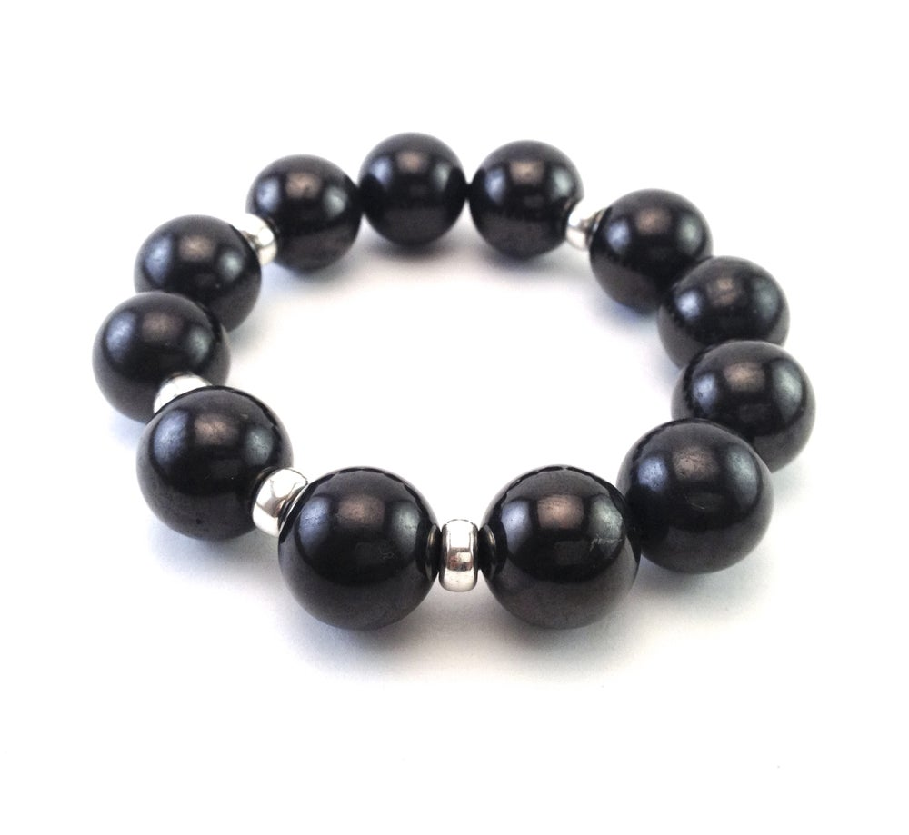 Image of 16mm All Shungite Infinity Bracelet