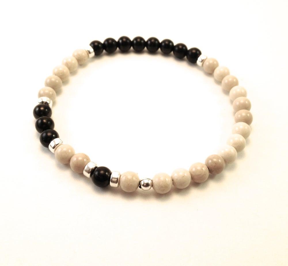 Image of Men's Shungite & Riverstone Infinity Wrist Mala & Bracelet