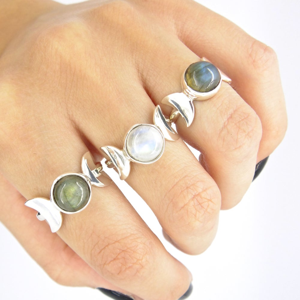 Image of Sterling Silver Triple Moon Ring