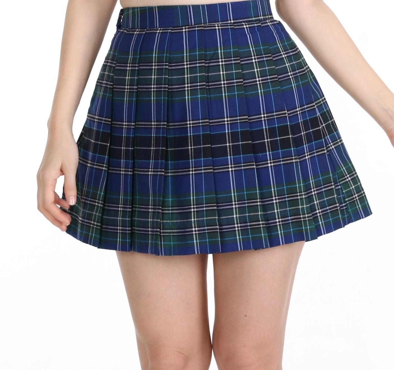 glitters for dinner blue black and green tartan skirt