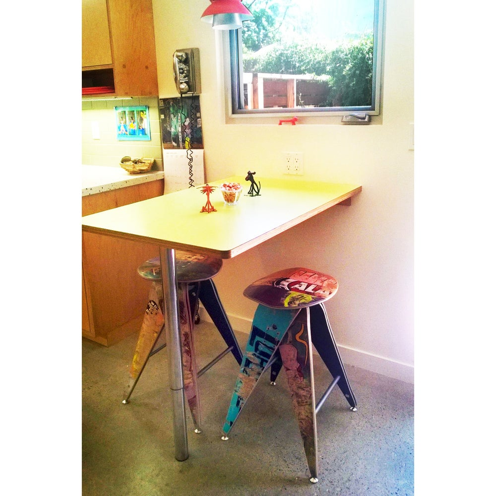 """Image of Recycled Skateboard Barstool - 25"""" Counter Height Stool"""