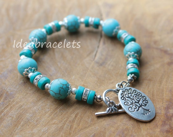 Image of Turquoise Gemstone Tree of Life Silver Bracelet
