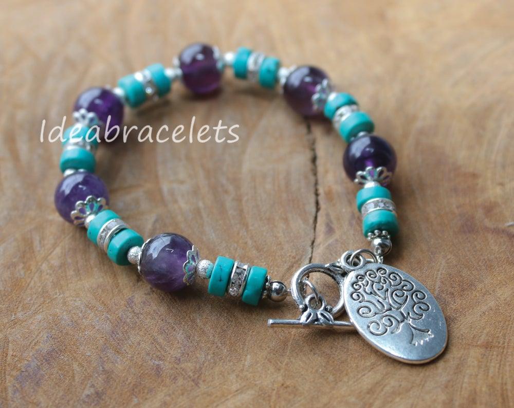Image of Amethyst Gemstone Tree of Life Silver Bracelet