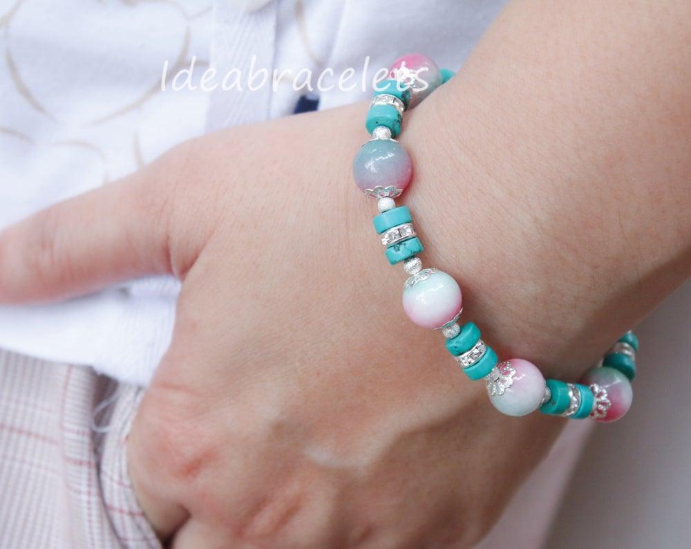 Image of Multicolors Pink Jade Gemstone Tree of Life Silver Bracelet