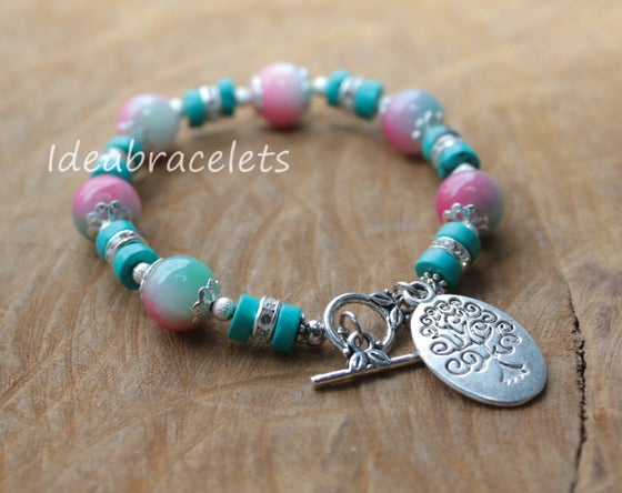 Image of Multicolors Pink Jade Gemstone Tree of Life Silver Bracelet